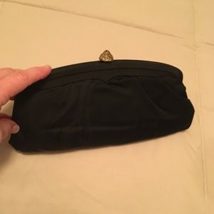 Handbags - Vintage black satin clutch evening bag 1960s.